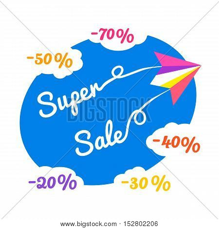 Paper plane. Super sale poster Concept. Airplane fly. Special discount season banner. Promo design of travel bonus offer for flight. Flat style. Off price advertisement background. Vector illustration