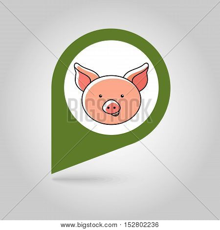 Pig flat pin map icon. Map pointer. Map markers. Animal head vector illustration eps 10