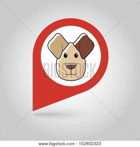 Dog flat pin map icon. Map pointer. Map markers. Animal head vector illustration eps 10
