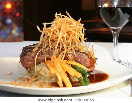 Grilled beef tenderloin entree