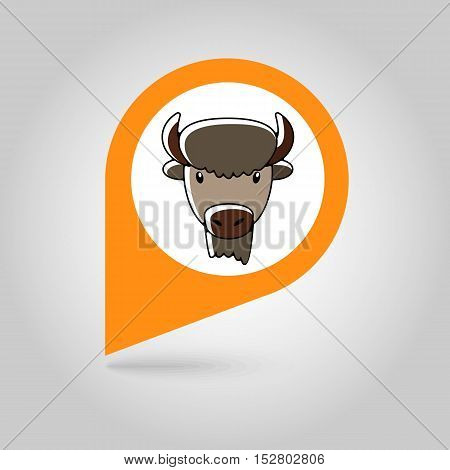 Bison bull buffalo ox flat pin map icon. Map pointer. Map markers. Animal horned head vector symbol eps 10