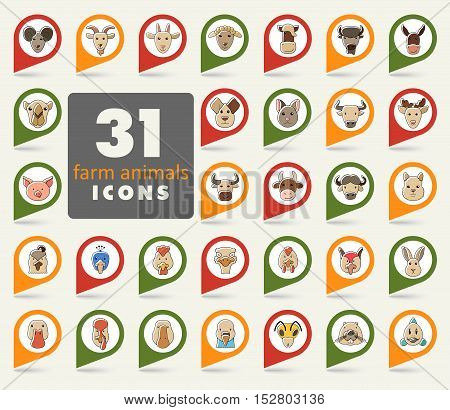 Set of farm animals flat pin map icon. Map pointer. Map markers. Animal head vector illustration eps 10