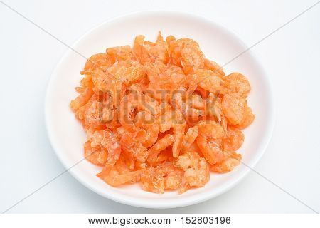 Sun Dried seafood : A group of dried Shrimps to make Asian cuisines, isolated on white