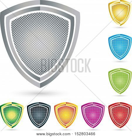 Coat of arms with grid, colored, security and metal industry Logo