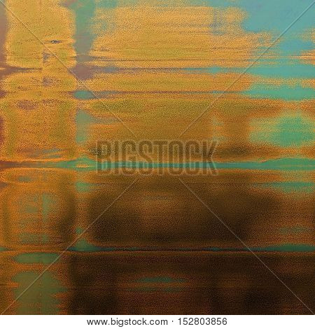 Weathered grunge elements on vintage texture for your design. Aged background with different color patterns: yellow (beige); brown; green; blue; red (orange); cyan