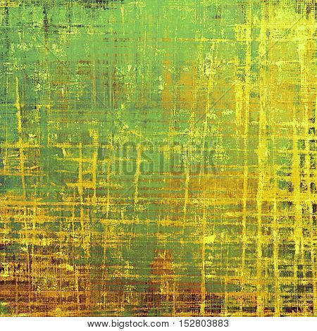 Old school frame or background with grungy textured elements and different color patterns: yellow (beige); brown; gray; green