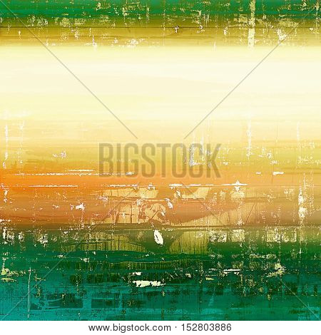 Vintage textured background with copy space. Old style backdrop with different color patterns: yellow (beige); brown; green; blue; white; cyan