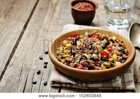 black beans corn white and red rice