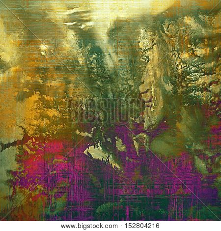 Old style design, textured grunge background with different color patterns: yellow (beige); brown; gray; green; red (orange); purple (violet)
