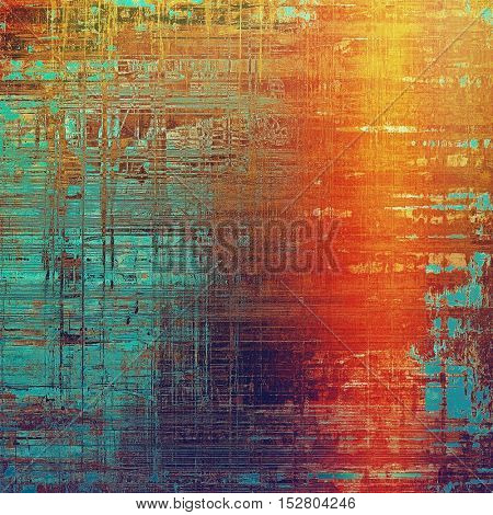 Vintage texture or antique background with grunge decorative elements and different color patterns: yellow (beige); brown; blue; red (orange); purple (violet)