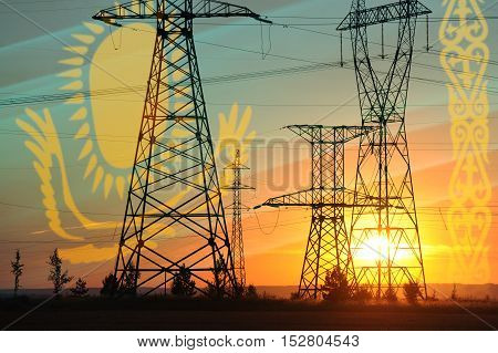 High-voltage Power Transmission Line. Energy Pillars. At Sunset, Dawn. High-tension. Kazakhstan Flag