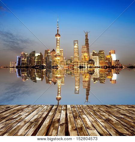 Night view of the skyline of Lujiazui New District, Shanghai, China.