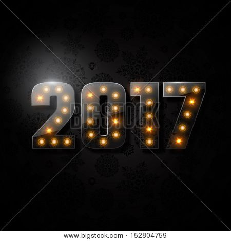 Transparent glass numeric 2017. Christmas new year concept with glowing lights black background. Vector illustration.