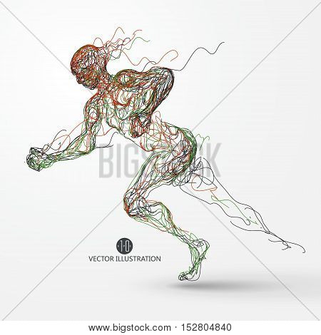 Running man colored lines drawing vector illustration.