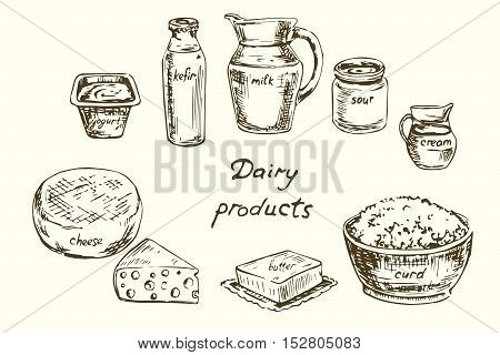 Dairy products set, Hand drawn vector illustration