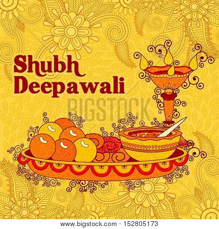 Vector design of Diwali decorated puja thali for light festival of India in Indian art style
