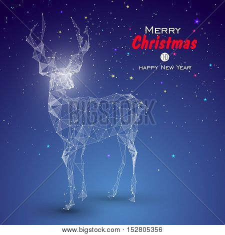 Deer composed of point line surface. can be used as the cover of a Christmas greeting card.