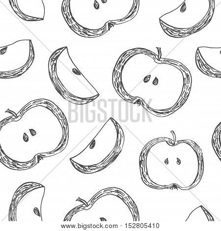 Cute pattern with slices of apples, painted with ink. Vector illustration.