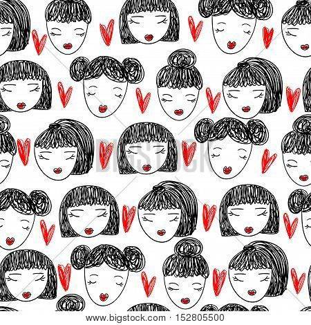 Cute pattern with beautiful girls faces and doodle hearts. Vector illustration.