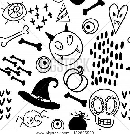 Cartoon pattern doodle - skull, monsters, spiders, witch hat. Vector illustration for Halloween.
