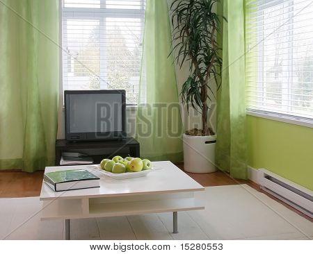 Salón pequeño contemporáneo en un hogar de Mostrar.