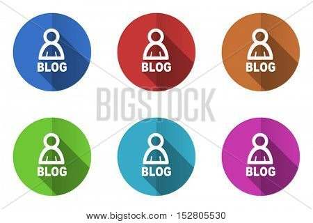 Blog flat vector icons