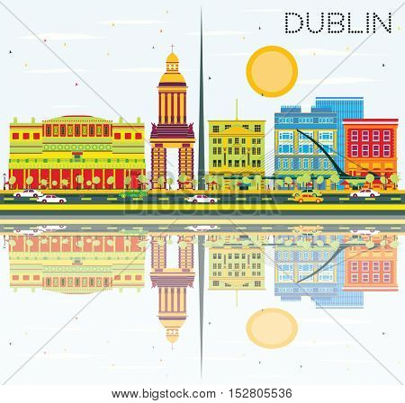 Dublin Skyline with Color Buildings, Blue Sky and Reflections. Business Travel and Tourism Concept with Historic Architecture. Image for Presentation and Banner.