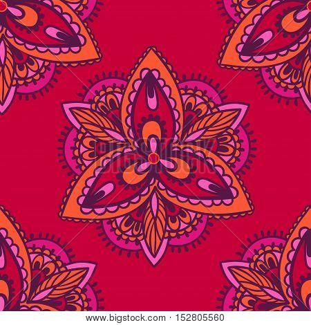 Bright floral pattern with mandalas. Vector illustration.