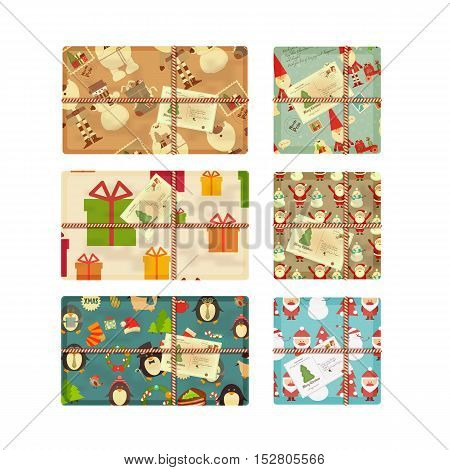 Christmas Gifts Isolated on White Background. Top View. VectorIillustration.