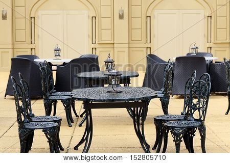 Outdoor restaurant coffee open air cafe chairs with table