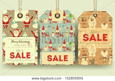 Christmas Sale Tags in Retro Style with Xmas Symbols - Santa Claus Snowman Polar Bear. Winter Sell-out Labels Collection. Vector Illustration.