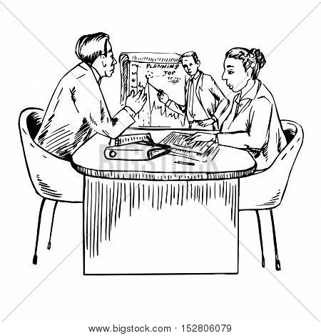 Teamwork - creating business strategy for developing, planning, Hand drawn vector illustration
