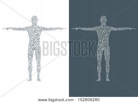 Structure molecule of man. Abstract model human body DNA . Medicine, science and technology. Scientific Vector for your design