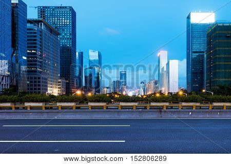 China Shenzhen night big city of skyscrapers.