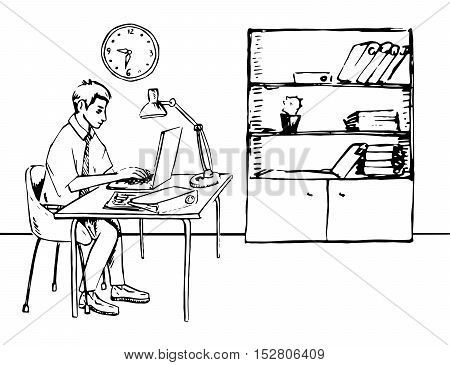 Businessman working in office with computer and papers, Hand drawn vector illustration