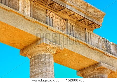 Popular tourist attraction the archeological site of the Acropolis of Lindos on the island Rhodes, Greece