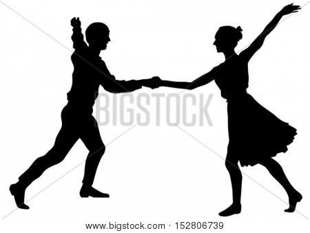 Dancers in theatrical costume on a white background
