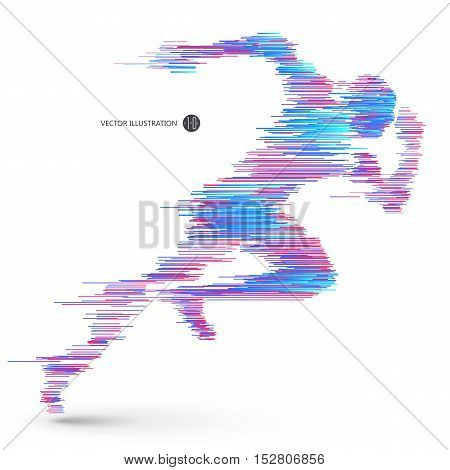 Running people composed of colored lines,Vector graphics design.