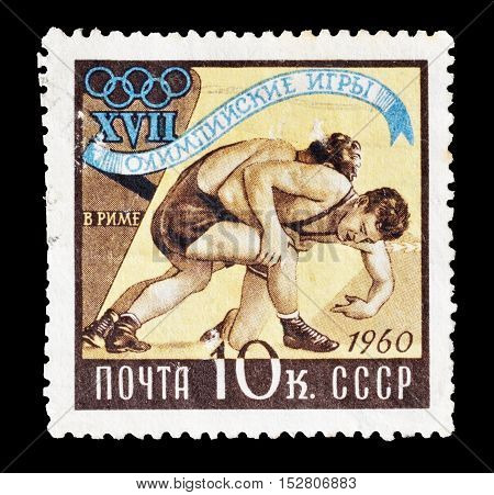 USSR - CIRCA 1960 : Cancelled postage stamp printed by USSR, that shows Wrestling.