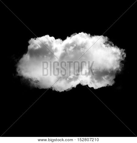 Soft white cloud flying isolated over black background illustration. Single cloud drawing