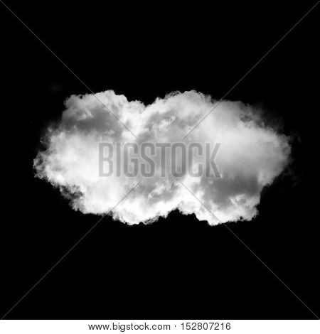 Soft white cloud isolated over black background illustration. Single cloud drawing