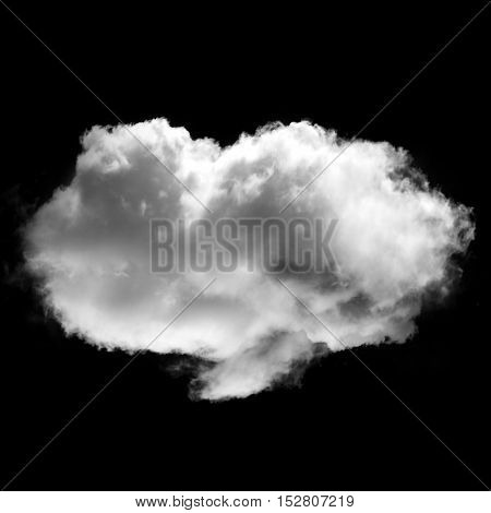 Single isolated cloud flying. White fluffy cloud illustration