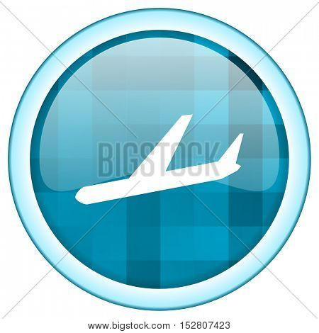 Blue circle vector airport icon. Round internet glossy button. Webdesign graphic element.