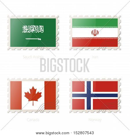 Postage Stamp With The Image Of Saudi Arabia, Iran, Canada, Norway Flag.