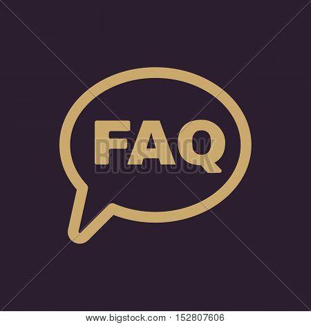 The faq speech bubble icon. Help symbol. Flat Vector illustration