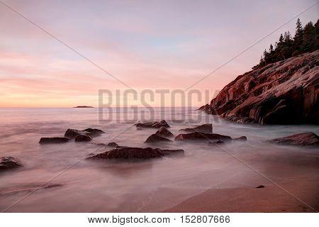Pre sunrise long exposure of Sand Beach in Acadia National Park
