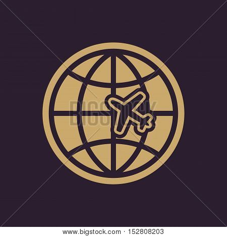The Globe and plane travel icon. Shipping symbol. Flat Vector illustration
