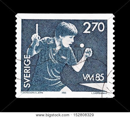 SWEDEN - CIRCA 1985 : Cancelled postage stamp printed by Sweden, that shows Table tennis.