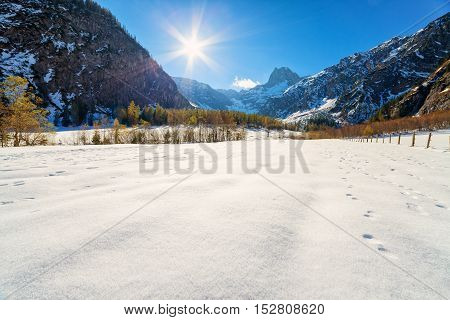 Late autumn early winter scenery in the Alps. Austria Tyrol.