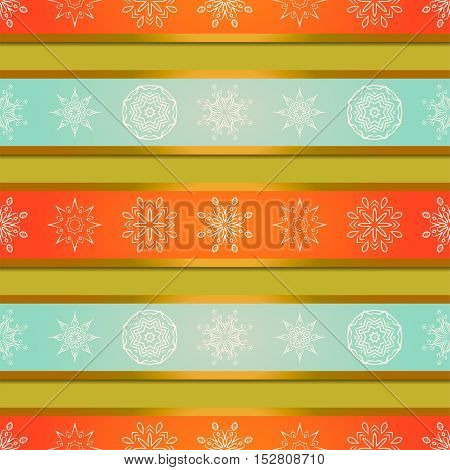 Christmas background with bright orange and blue stripes and mandalas snowflakes. Vector background